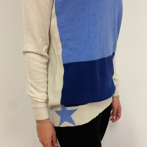 Blue and Cream Colour Block Crew Neck Tunic Style Jumper Extra Small