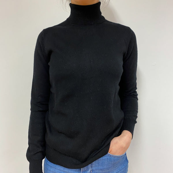 Classic Black Polo Neck Jumper Small