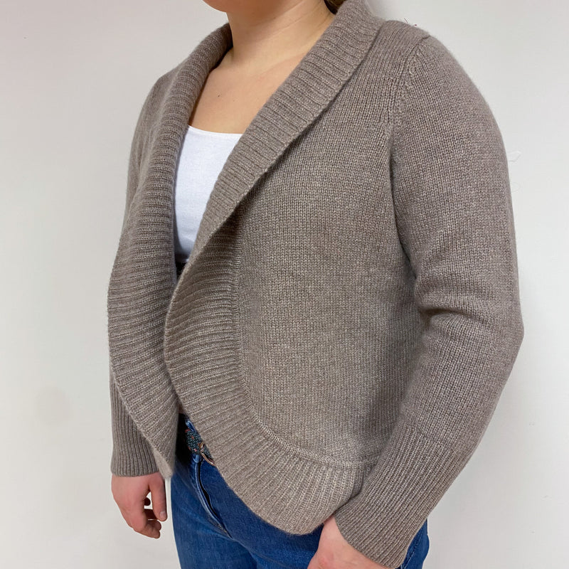 Chunky Knit Mink Brown Shawl Collar Cardigan Large