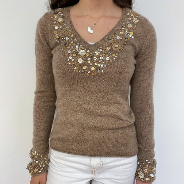 Fudge Brown Embellished V Neck Jumper Extra Small
