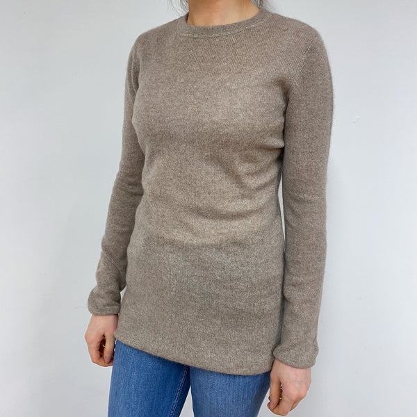 Long Style Biscuit Brown Crew Neck Jumper Small