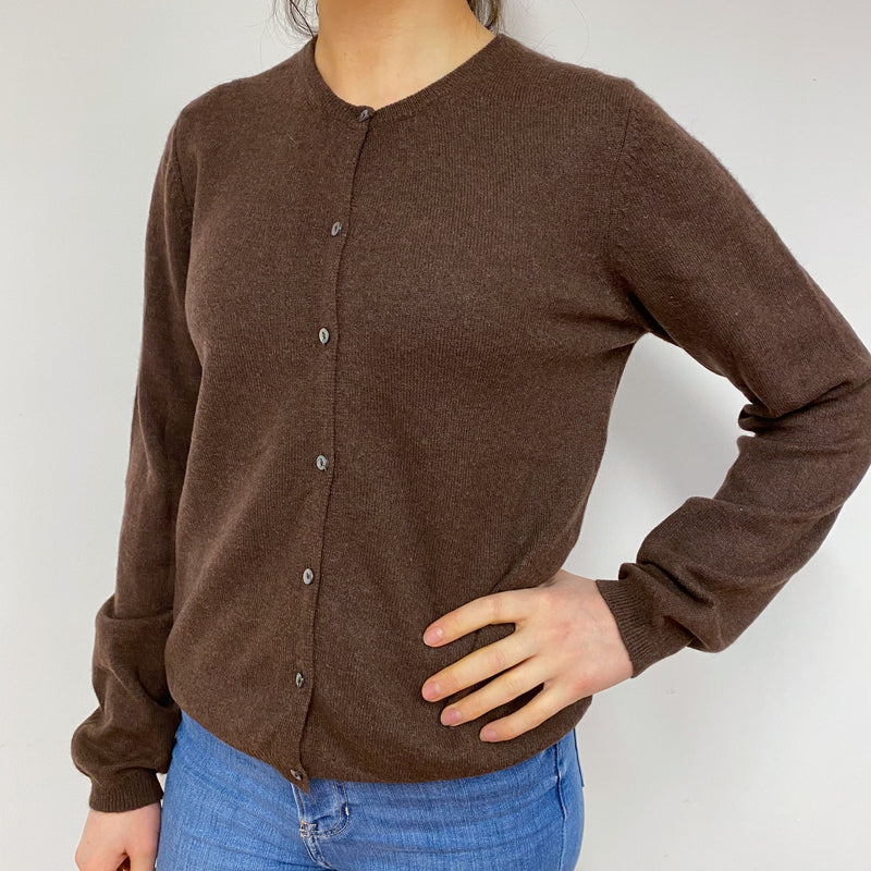 Chocolate Brown Crew Neck Cardigan Small