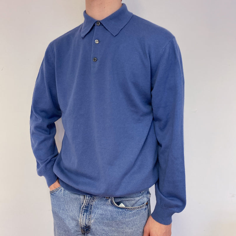 Men's Airforce Blue Collared Neck Jumper Large