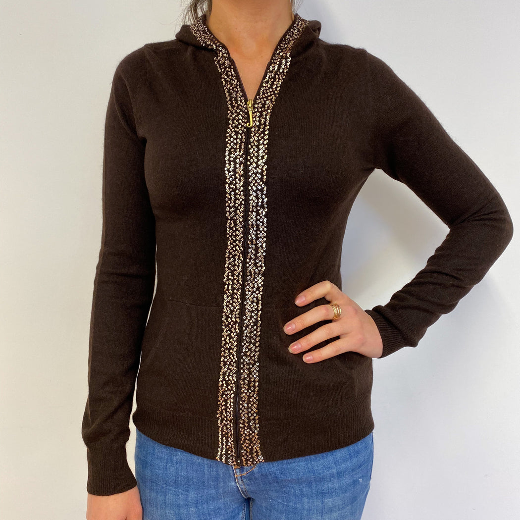 Chocolate Brown Sparkle Detail Zip Hoodie Small