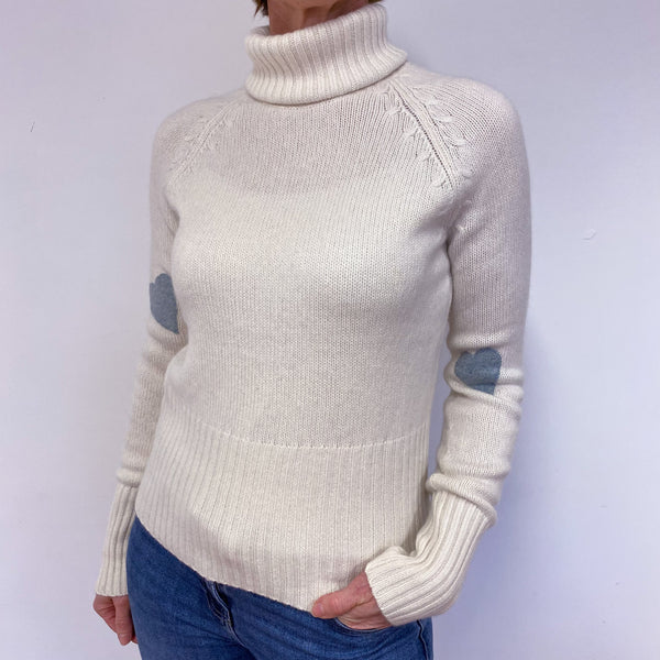Cream Polo Neck Heart Jumper Medium