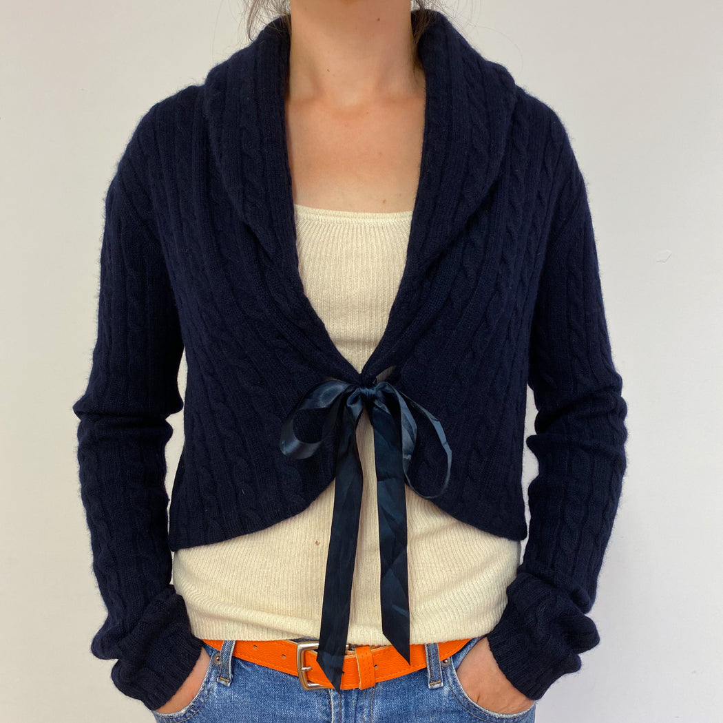 Fantastic Navy Blue Cable Knit Cardigan Medium