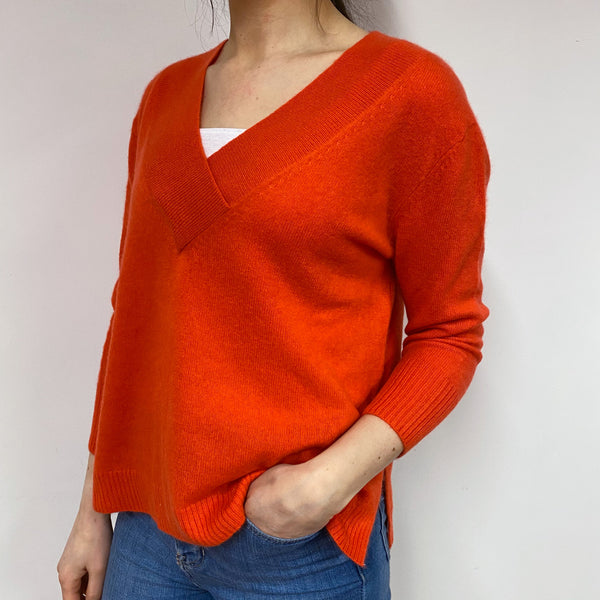 Sunset Orange Boxy V Neck Jumper Small