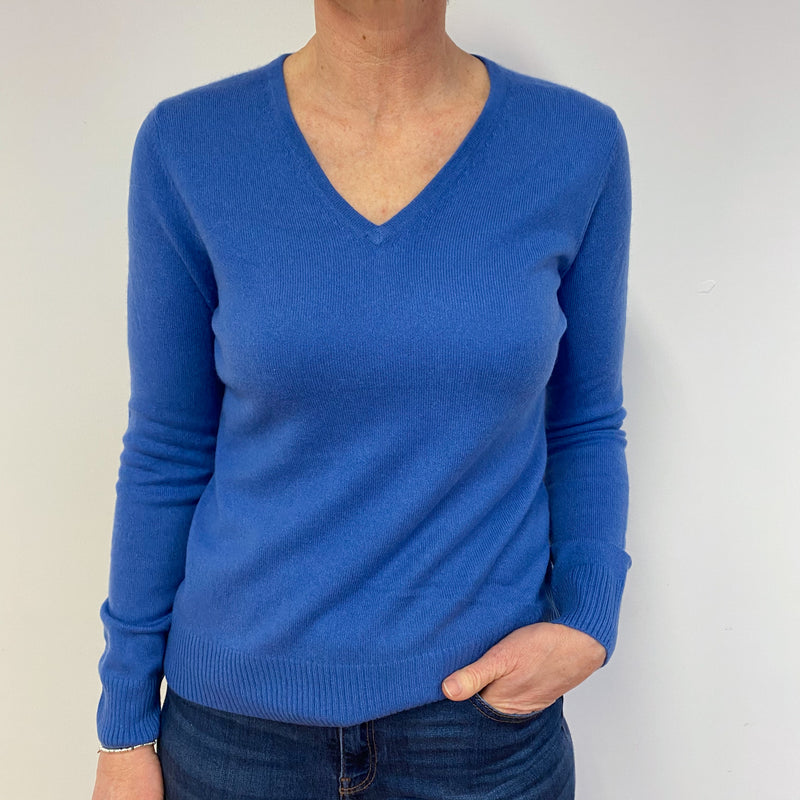 Tanzanite Blue V Neck Jumper Medium