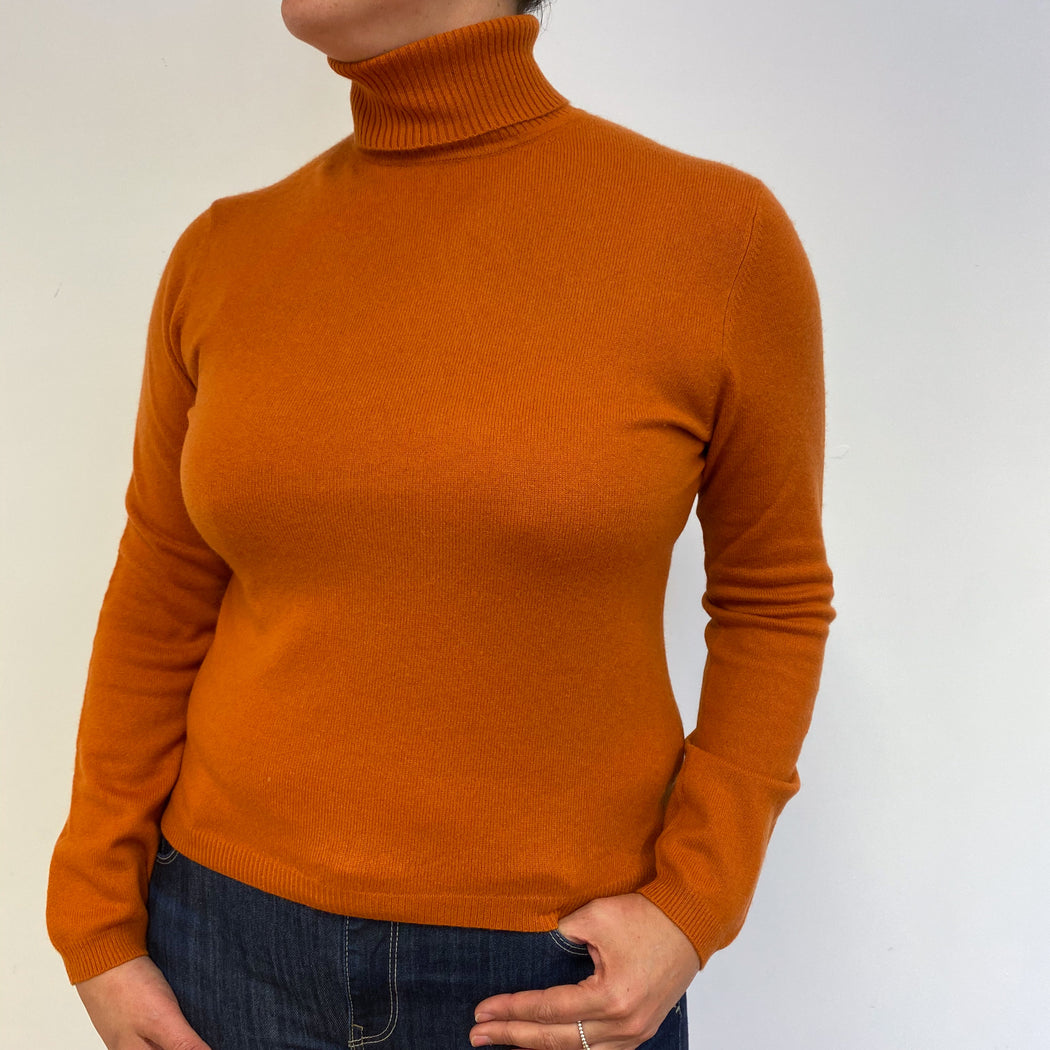 Burnt Orange Polo Neck Jumper Large