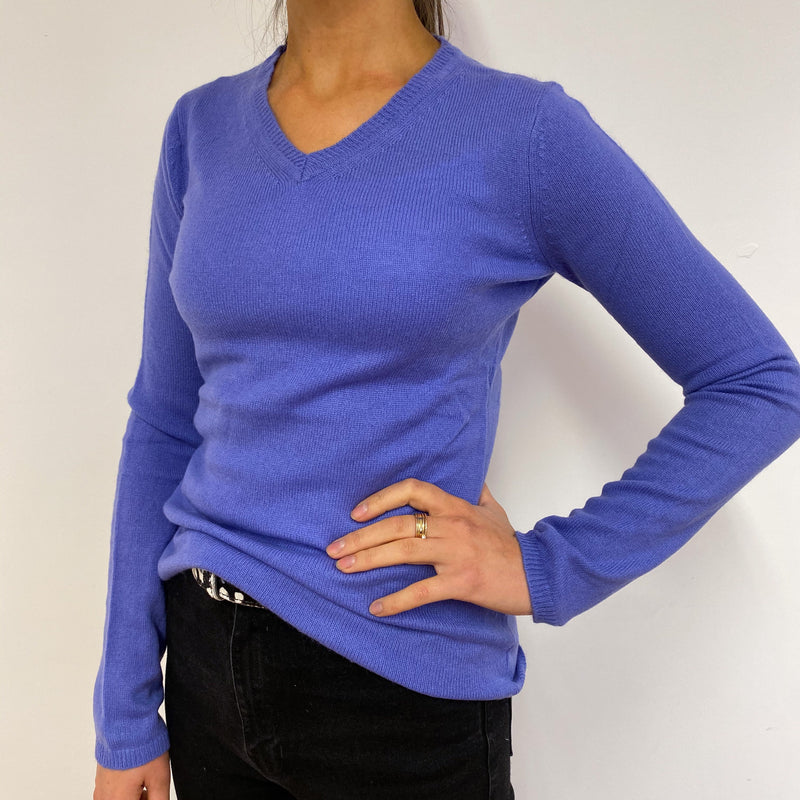 Deep Blue V Neck Jumper Small
