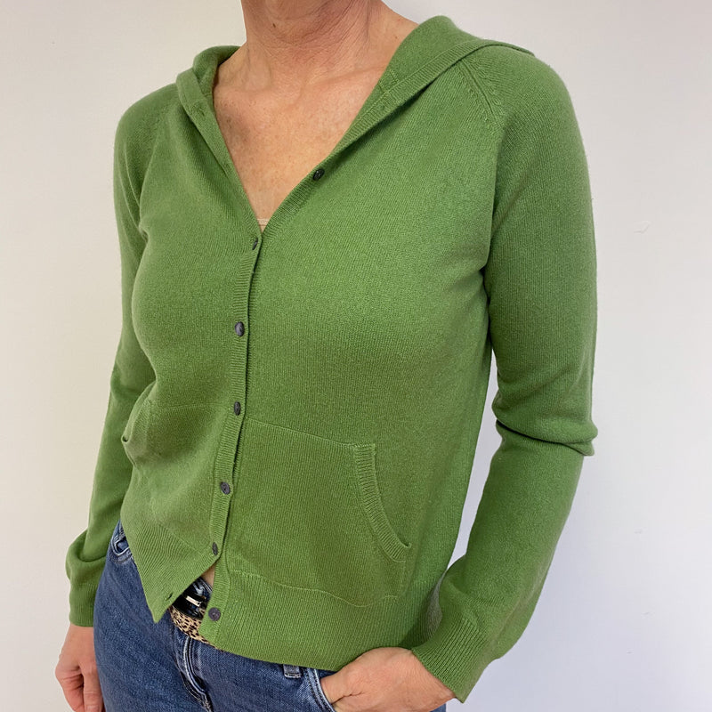 Pear Green Heart Detailed Hooded Cardigan Medium