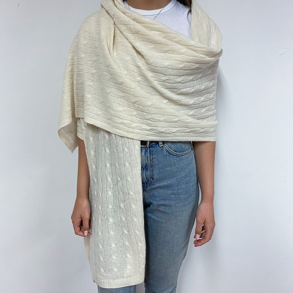 Winter White Cable Knit Extra Large Scarf/Wrap