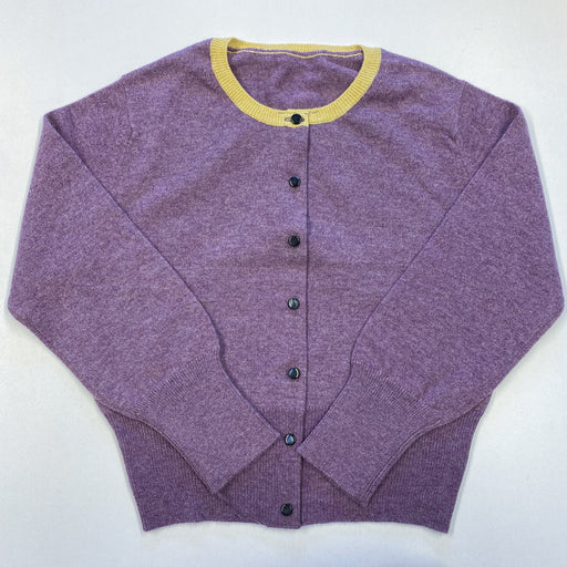 *New* Children's Age 8 Lavender Purple Cardigan With Yellow Trim