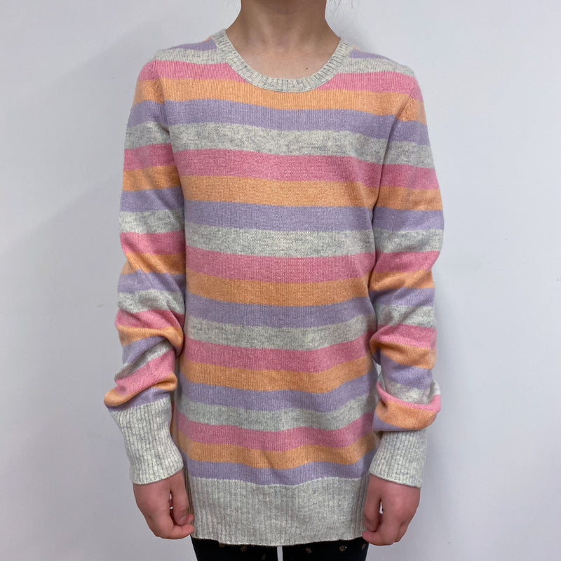 Children's Multi Pastel Stripe Crewneck Jumper