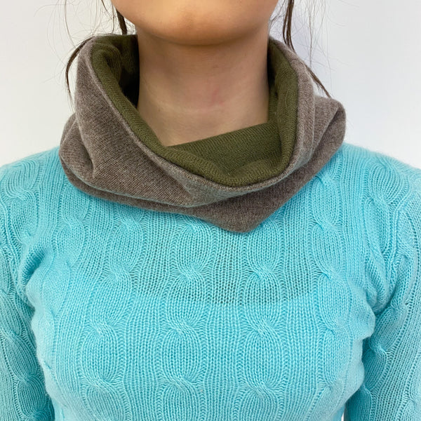 Reversible Khaki and Soft Brown Neck Warmer
