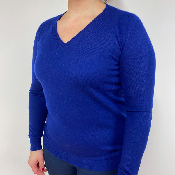French Navy V Neck Jumper Large