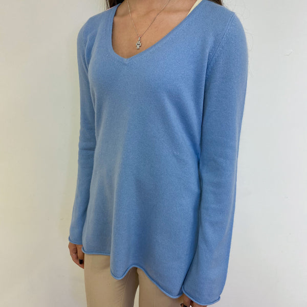 Loose Fit Sky Blue Heart V Neck Extra Small