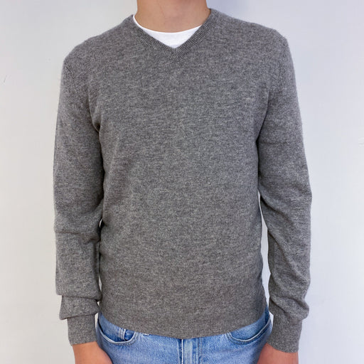 Men's Grey V-Neck Jumper Small
