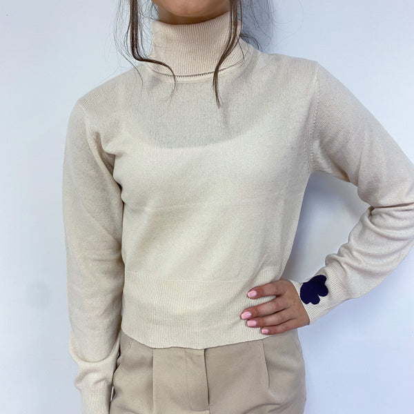 Cream Heart Detailed Polo Neck Vintage Jumper Extra Small