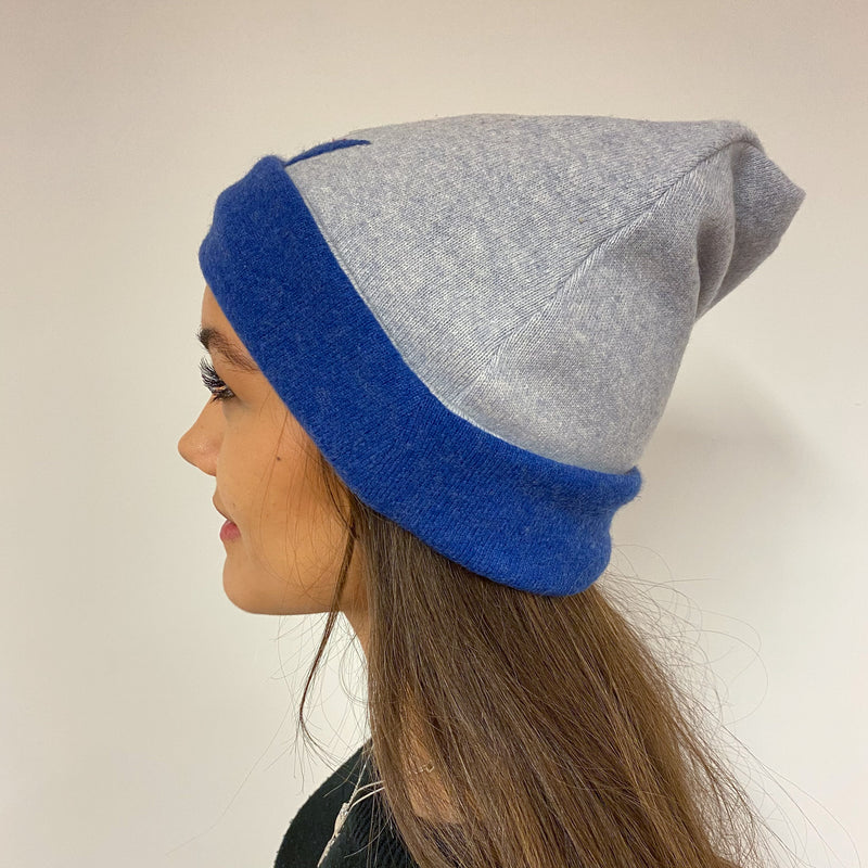 Reversible Denim Blue & Grey Star Hat