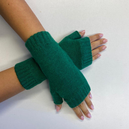 *New* Forest Green Fingerless Recycled Cashmere Gloves