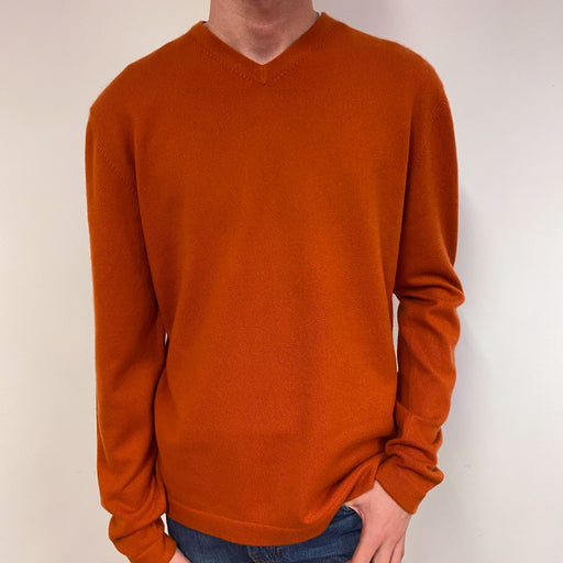 Men's Burnt Orange V Neck Jumper Medium