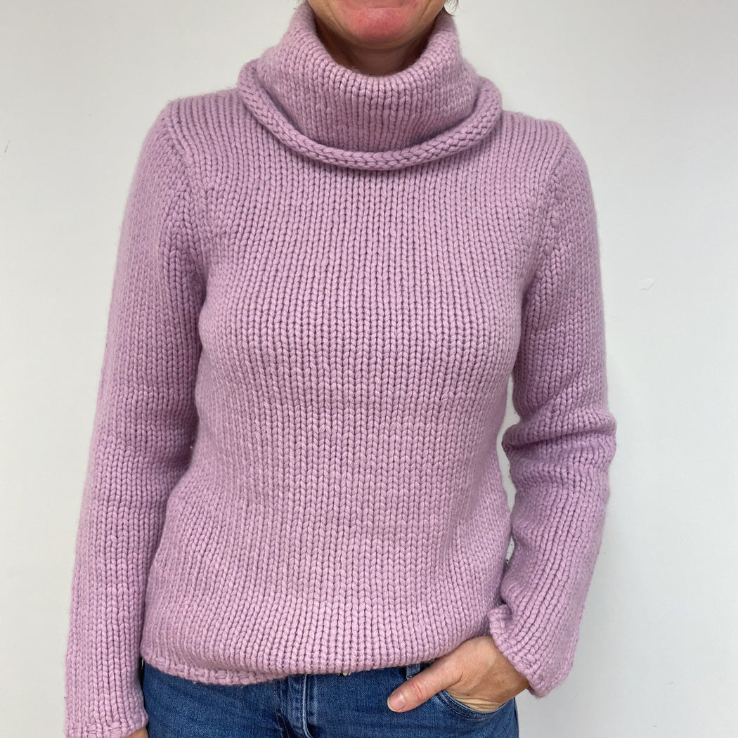 Super Chunky Lilac Polo Neck Jumper Medium