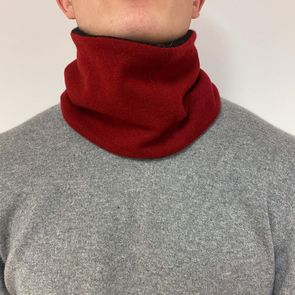 Reversible Black and Deep Red Neck Warmer Unisex