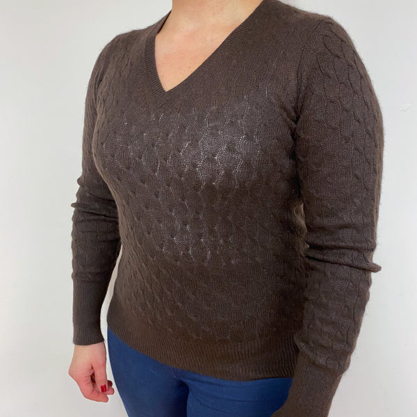 Chocolate Brown Cable Knit V Neck Jumper Large