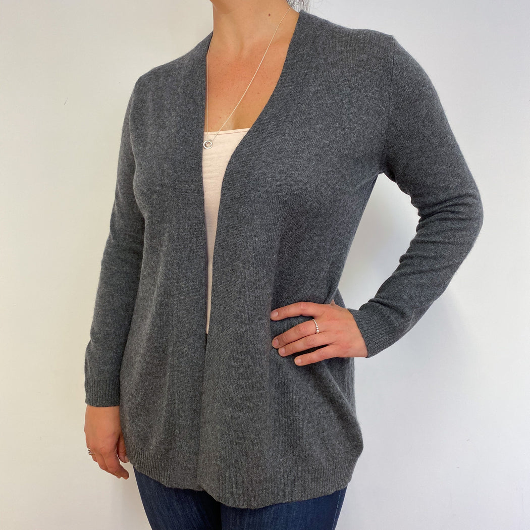 Mid Grey Edge to Edge Cardigan Large