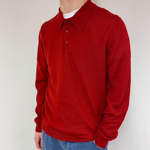 Men's Postbox Red Polo Collared Jumper Medium