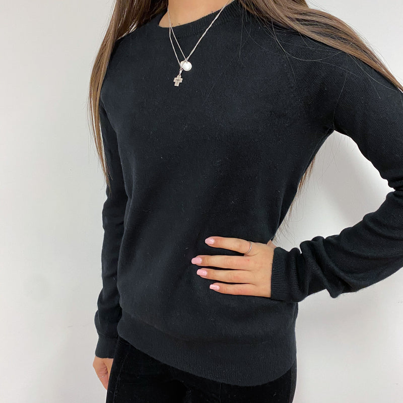 Black Crew Neck Tunic Style Jumper Extra Small