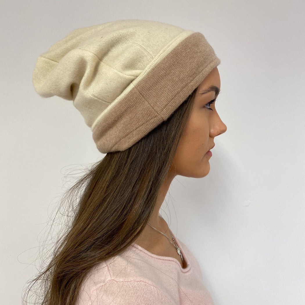 Reversible Beige and Cream Heart Detailed Hat