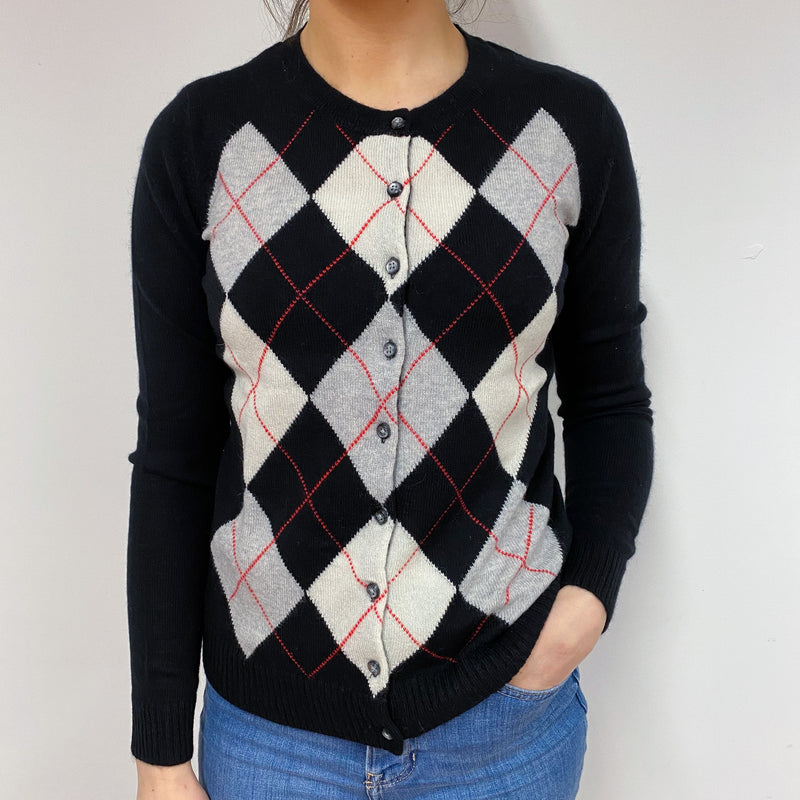 Black and Red Diamond Pattern Crew Neck Cardigan Small