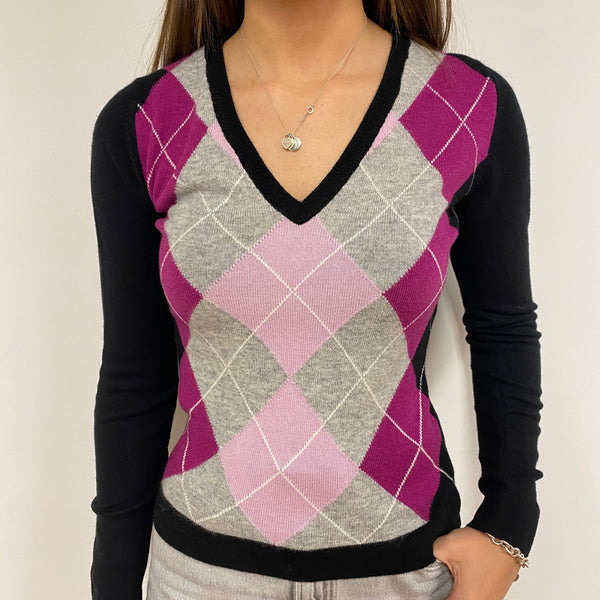 Brand New Pink/Black Diamond V Neck Jumper UK 6 Extra Small