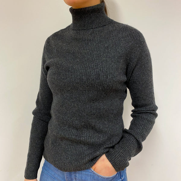 Charcoal Grey Skinhy Rib Polo Neck Jumper Small