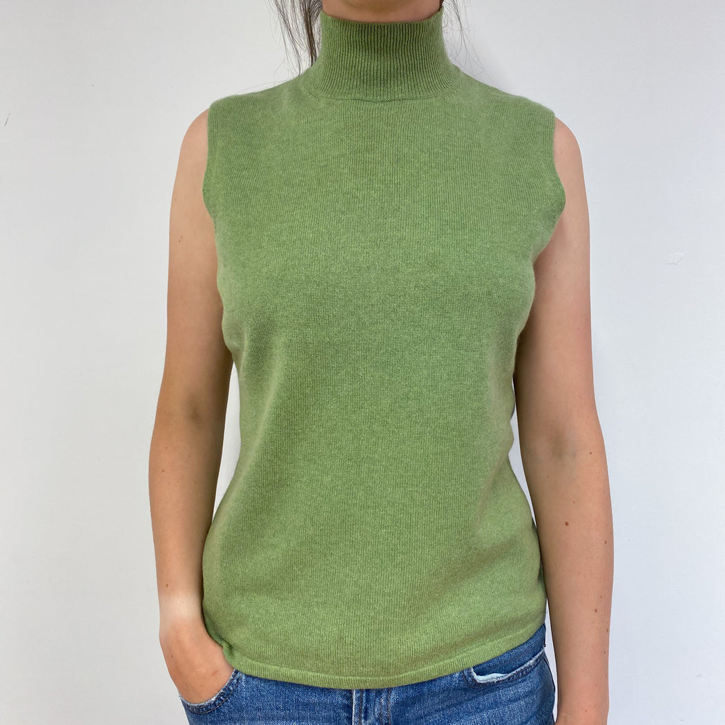 Pistachio Green Sleeveless Polo Neck Medium