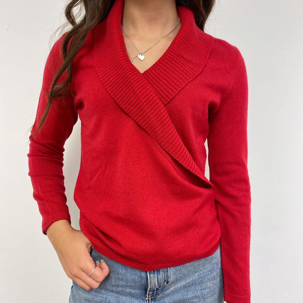 Wrap Style Spanish Red Shawl Collar Jumper Small Petite