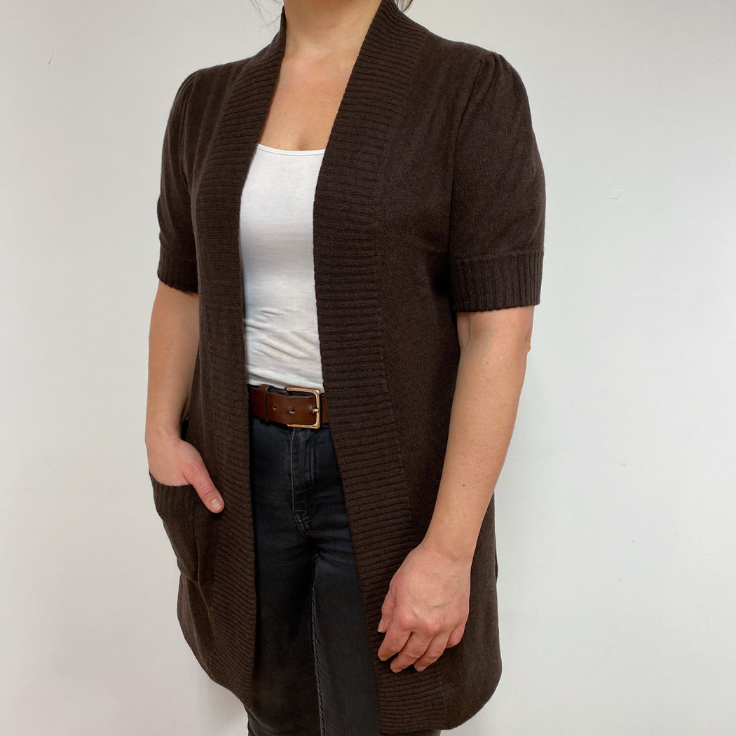Chocolate Brown Open Longline Cardigan Large