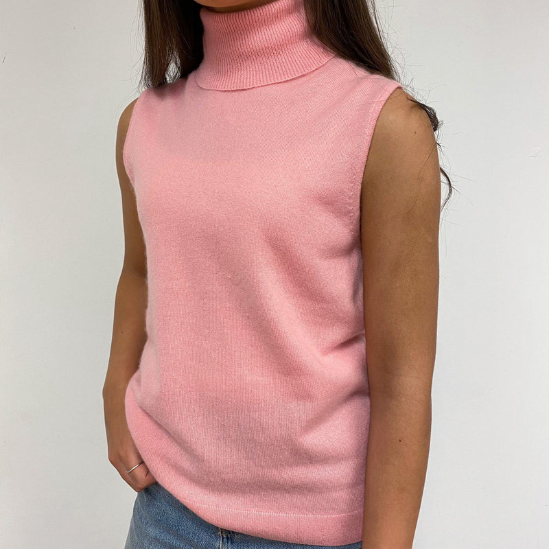Rose Petal Pink Sleeveless Polo Neck Jumper Small