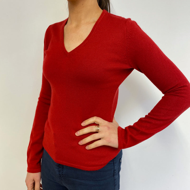 Postbox Red V Neck Jumper Small