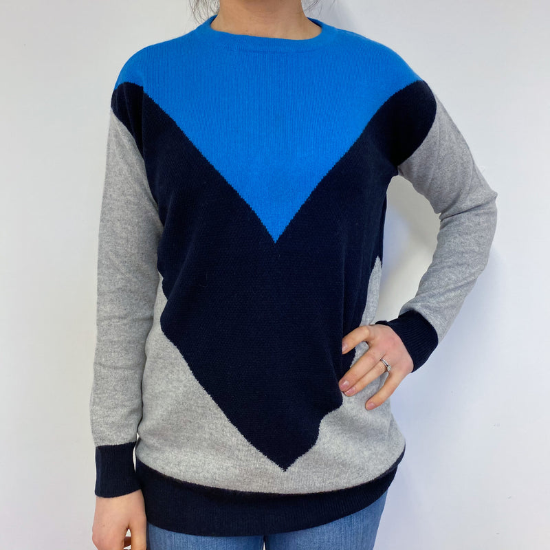 Blue and Grey Colour Block Slouchy Jumper Small