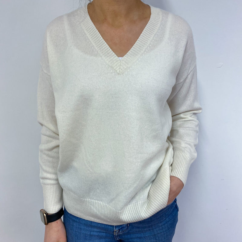 Ivory Slouchy V Neck Jumper Small