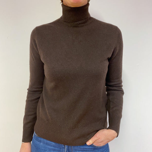 Chocolate Brown Polo Neck Jumper Medium