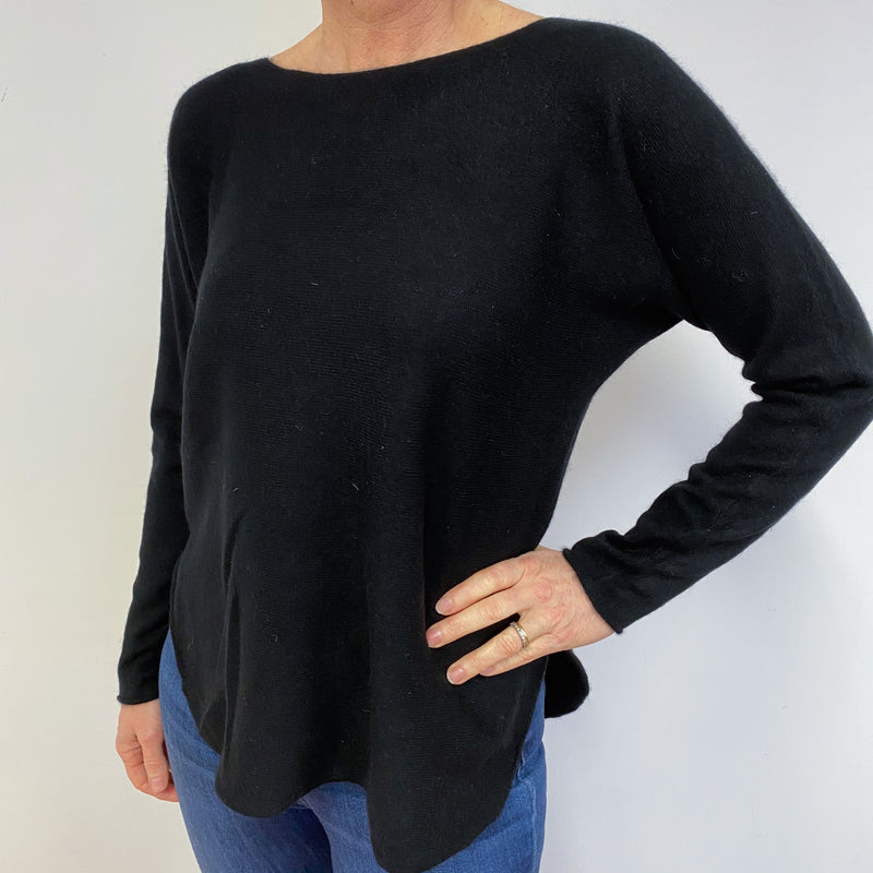Black Crew Neck Tunic Style Jumper Medium