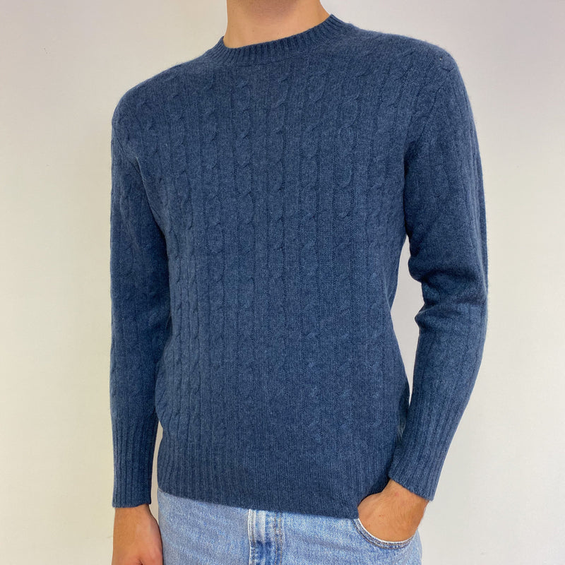 Men's Blue Cable Knit Crew Neck Jumper Medium