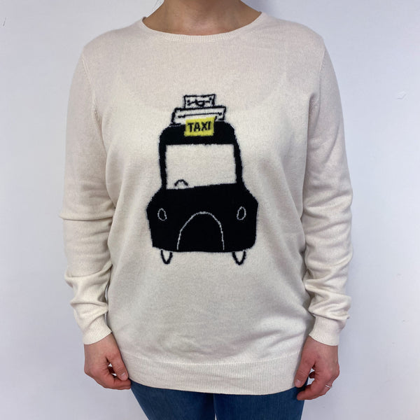 Winter White Taxi Motif Crew Neck Jumper Large