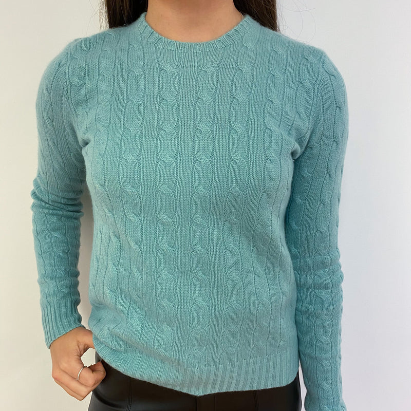 Avocado Cable Knit Crew Neck Jumper Extra Small