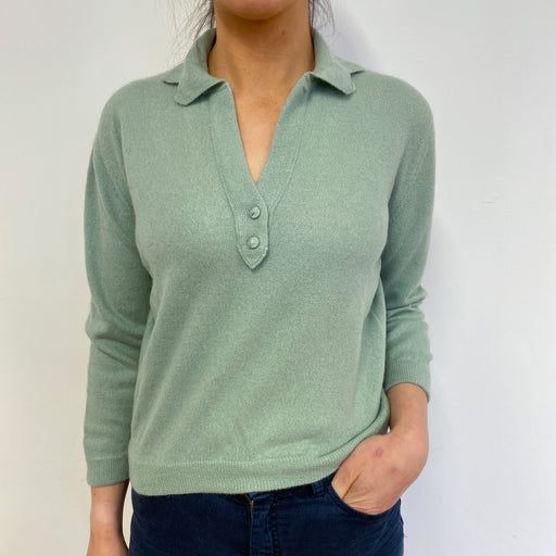 Sage Green Collared V Neck Vintage Jumper Small