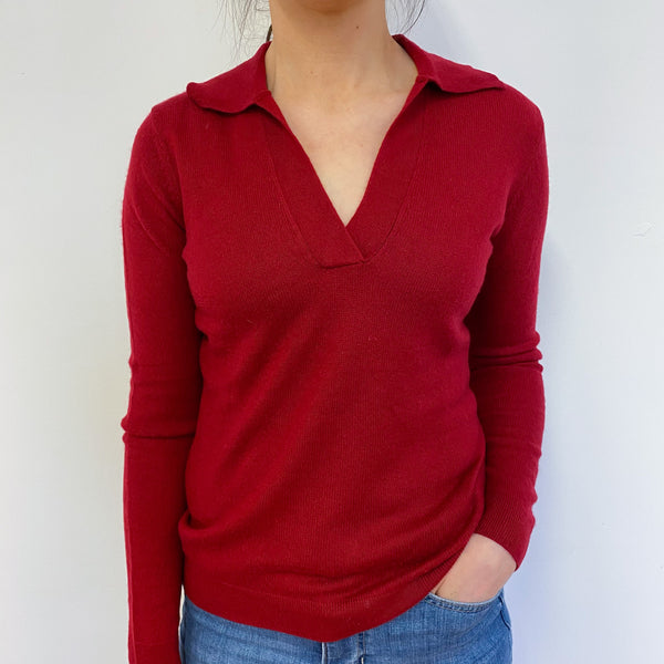 Post Box Red Collared V Neck Jumper Small
